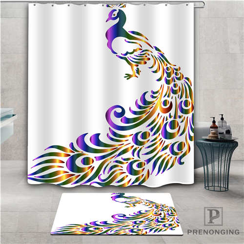 Imagen personalizada de pavo real (1), cortina de ducha impermeable, Felpudo de baño para el hogar, tela poliéster para el baño, varias tallas #2019-01-12-246