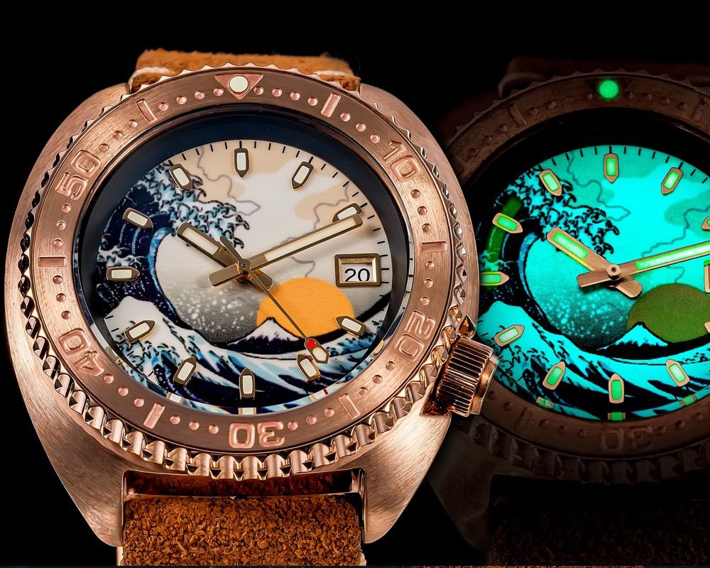 Resistência à Água Shirryu Masculino Bronze Mergulhador Relógio Kanagawa Onda Luminosa Dial Safira 200m Nh35 Movimento Automático