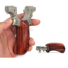 Portabl fronde catapulte en acier inoxydable + manche en bois avec élastique puissant chasse en plein air tir fronde tir