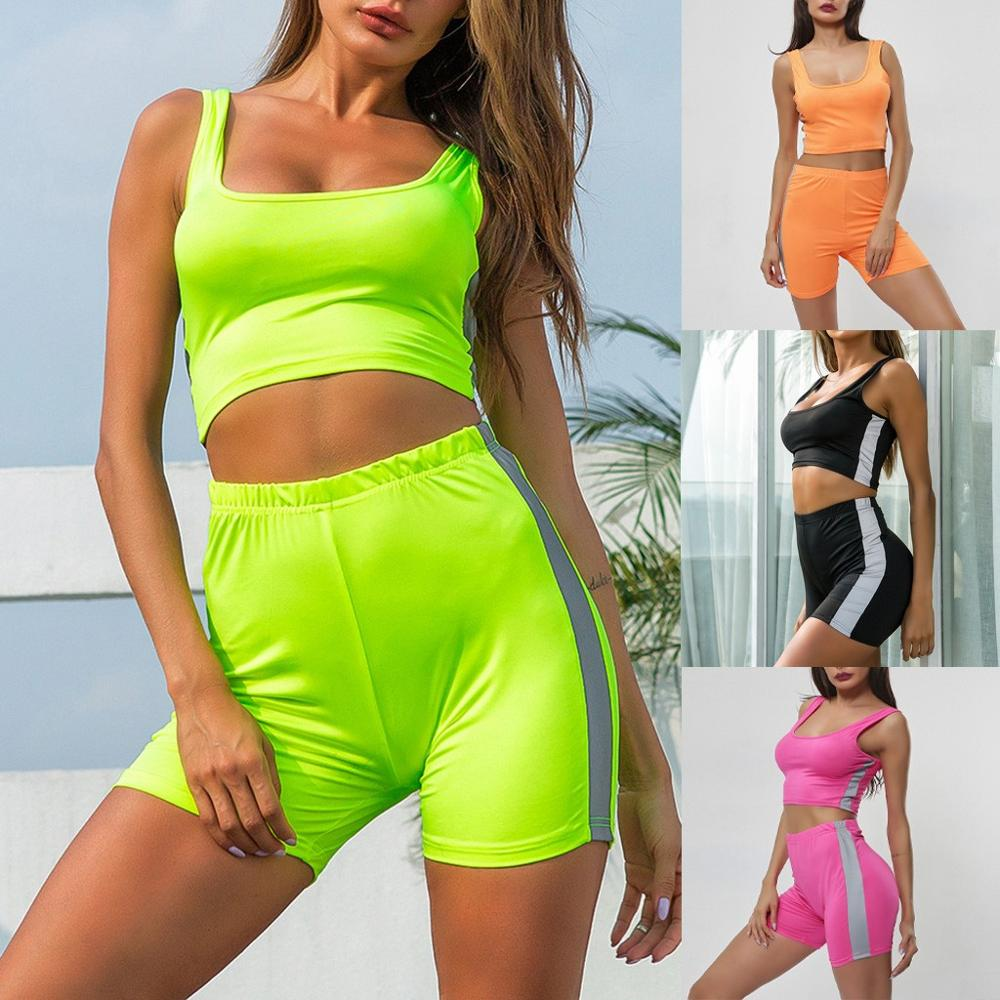 Conjunto de dos piezas, conjunto de 2 piezas, Top corto Sexy para mujer, chaleco de cintura alta, pantalones cortos ajustados, traje de tira reflectante para la calle, 2020 nuevo