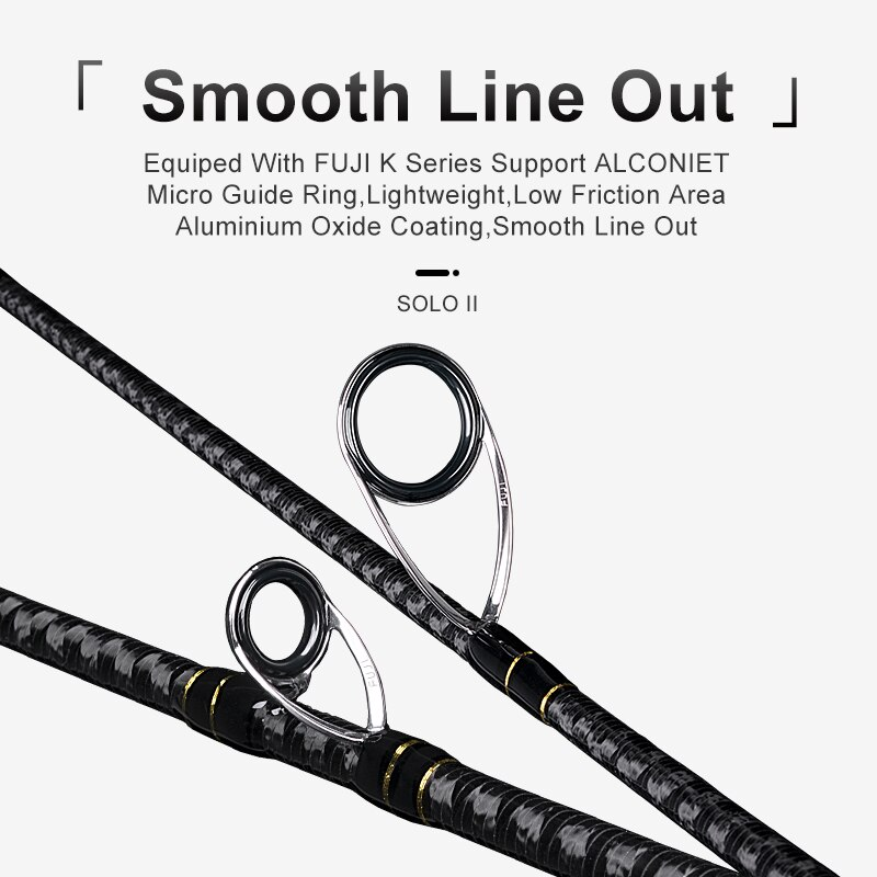 Kingdom Solo II Fishing Rod 2 Section L/ML/M/MH FUJI Guide Ring Spinning Rod Wooden Handle Sea & Freshwater Strong Casting Rods enlarge