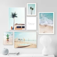 pineapple coconut waves surfboard summer beach art canvas painting nordic posters and prints wall pictures for living room decor