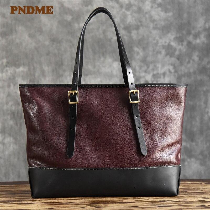 PNDME ريترو جلد طبيعي فاخر حقيبة نسائية صغيرة حقيبة الموضة الطبيعية حقيقية جلد البقر سعة كبيرة حقيبة كتف حقيبة الركاب
