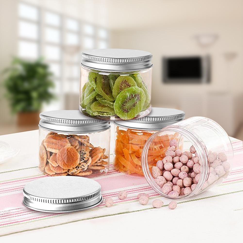 50 قطعة 30 مللي 50 مللي 60 مللي 80 مللي 100 مللي 120 مللي 150 مللي صندوق بلاستيكي للحلوى للتوابل شفافة الحاويات جرار مع أغطية كوكي المطبخ جرة