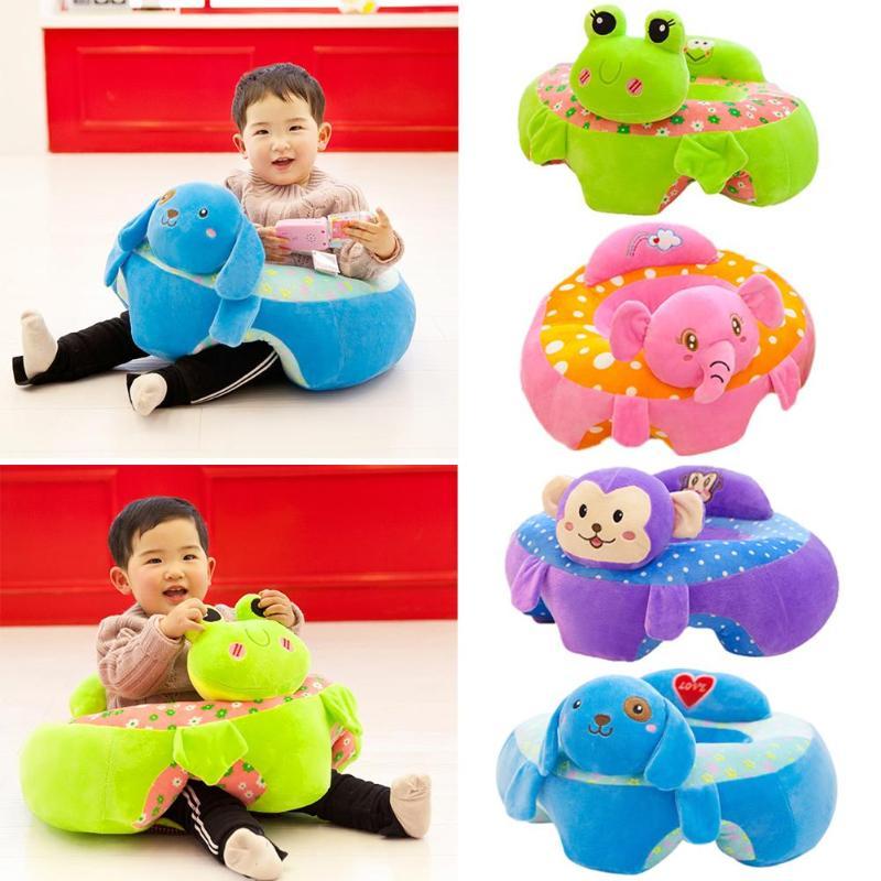 Assento de pelúcia para bebês, almofada para sofá, brinquedo para crianças, infantil, desenho animado, capa com zíper algodão dos pp