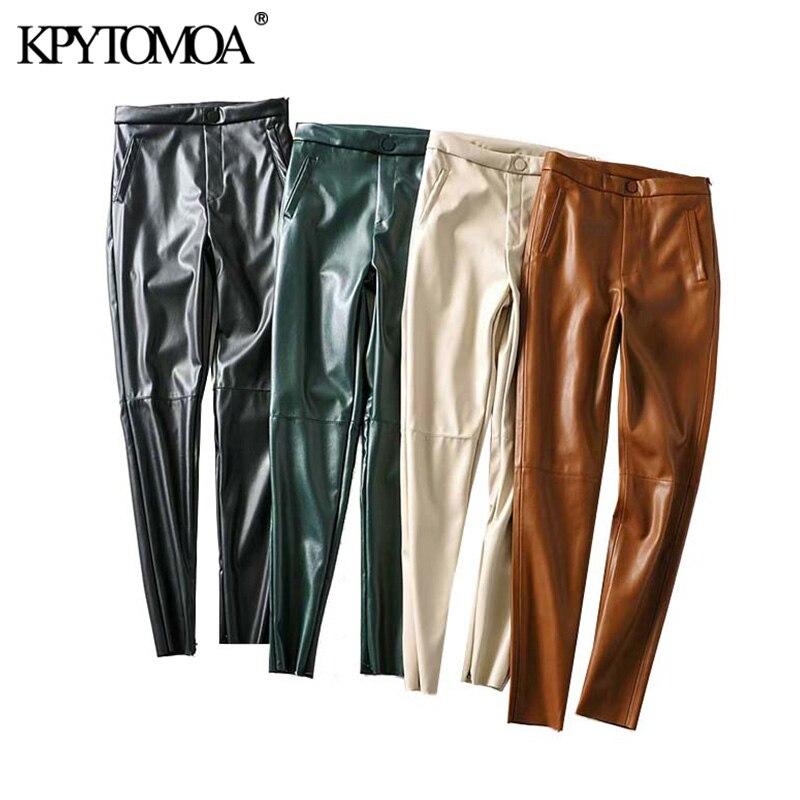 Legging de cuero sintético de PU con estilo Vintage para mujer, moda 2020, bolsillos con cremallera lateral, Pantalones al tobillo femeninos decorados, Pantalones