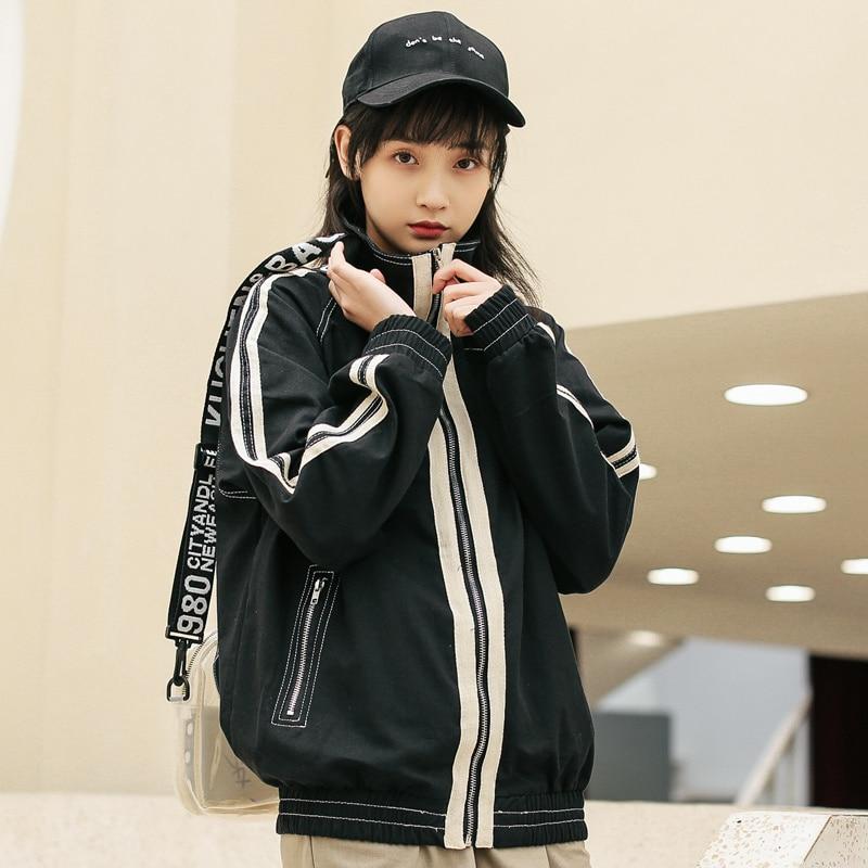 Autumn Korean Harajuku Style Parallel Bars Student Casual Loose Long Sleeve Zipper Overalls Women