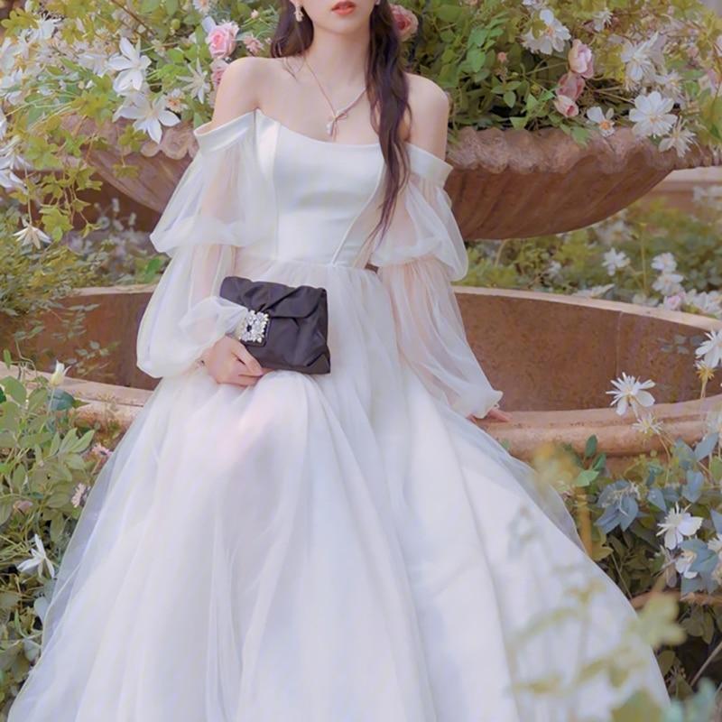 Drop Long Lantern Sleeves Off Shoulder Tulle Wedding Dress Plus Size Zipper Boning Custom Made Long Train Princess Bridal Gown