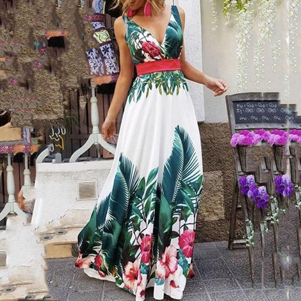 Fashion Women Summer V-Neck Sleeveless Collect Waist Bohemian Print Maxi Dress s Summer 2020 Boho Sexy Floral Dress vestido #4