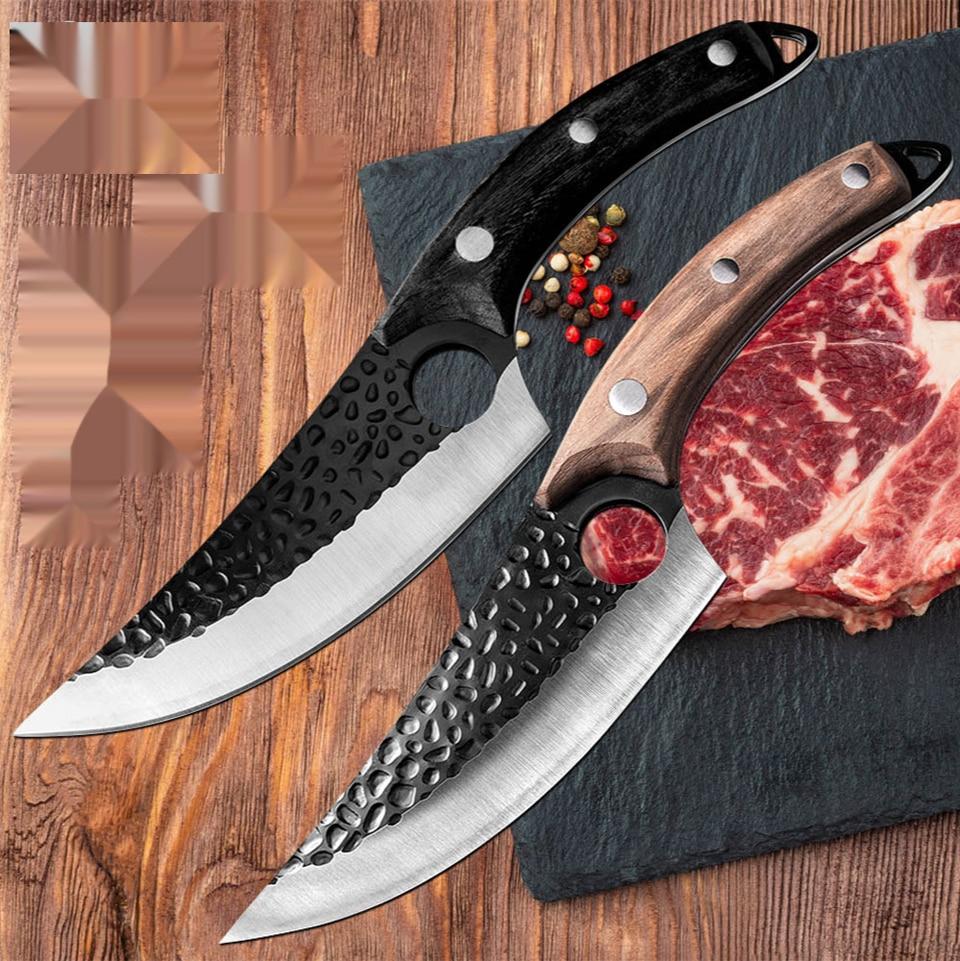 الدمشقي المقاوم للصدأ سكاكين المطبخ مزورة سكين نزع العظم سكين الجزار اللحوم الساطور قطاعة الخضراوات أدوات مطبخ