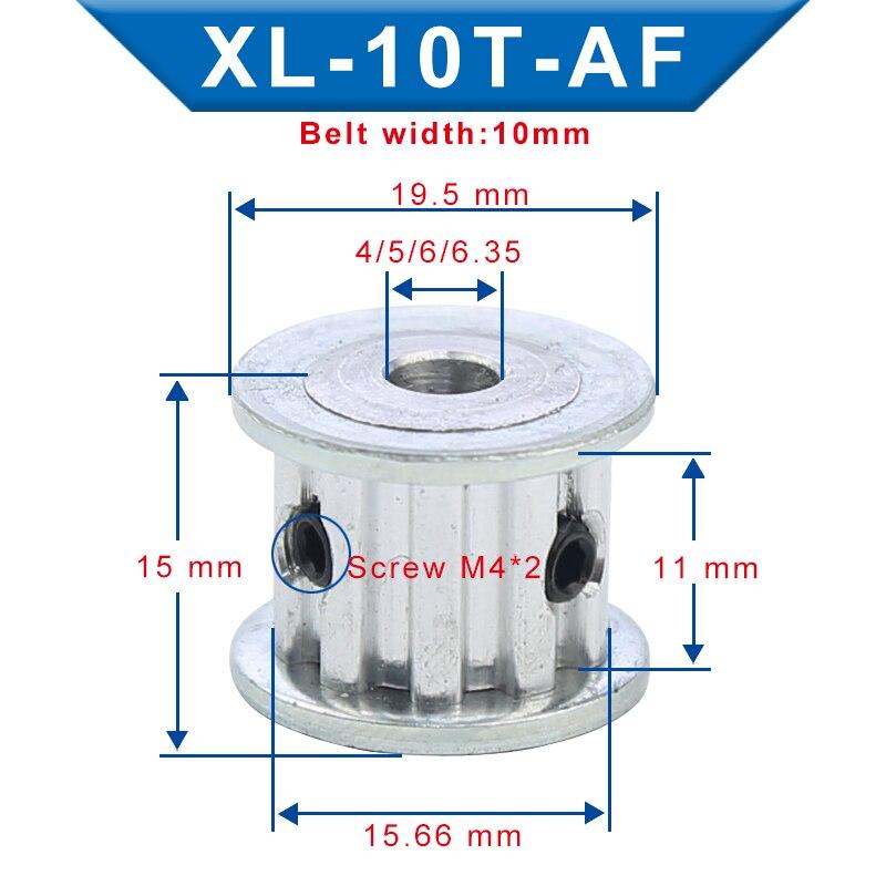 XL-10T توقيت بكرة الداخلية تتحمل 4/5/6/6.35 مللي متر مادة الألومنيوم بكرة عجلة AF شكل فتحة العرض 11 مللي متر ل XL-10mm مؤقت اشتعال