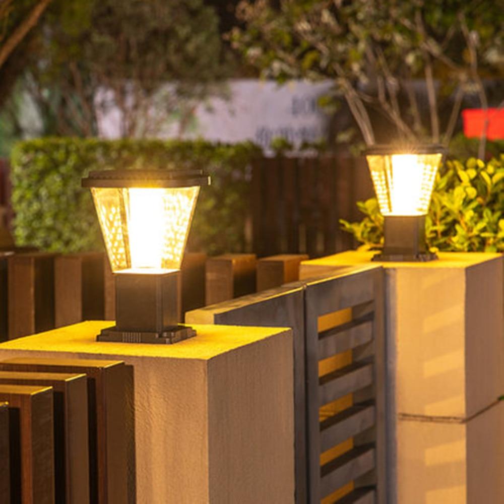 Solar Pillar Lights Column Head Light Outdoor Waterproof Home Villa Solar Wall Lamps Modern Minimalist Gate Column Garden Lamp enlarge