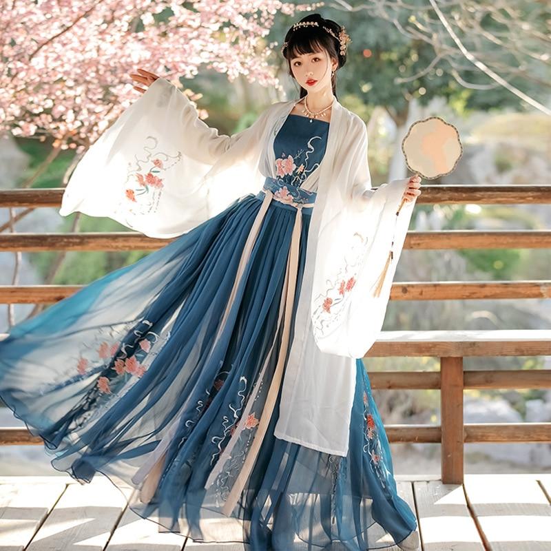 Hanfu الإناث النمط الصيني التقليدية القديمة التطريز الجنية ملابس رقص الشعبية الكبار تأثيري زي مرحلة الأداء دعوى