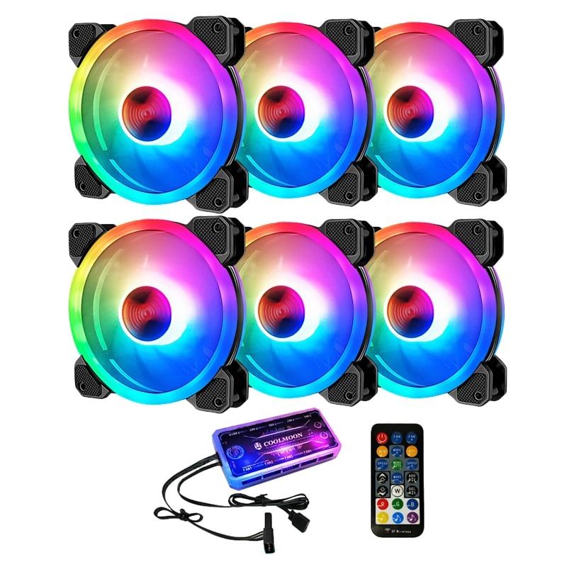 COOLMOON RGB وحدة معالجة خارجية للحاسوب مروحة ، 12 سنتيمتر الصامتة Shenguang مزامنة + جهاز تحكم في الموسيقى الكمبيوتر مروحة التبريد CPU مروحة التبريد (6 حز...