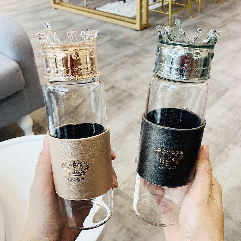 Queen Crown Glass Water Bottle 300ML Girls Cute Leak proof Drink Water Cup Women Watebottle Gifts