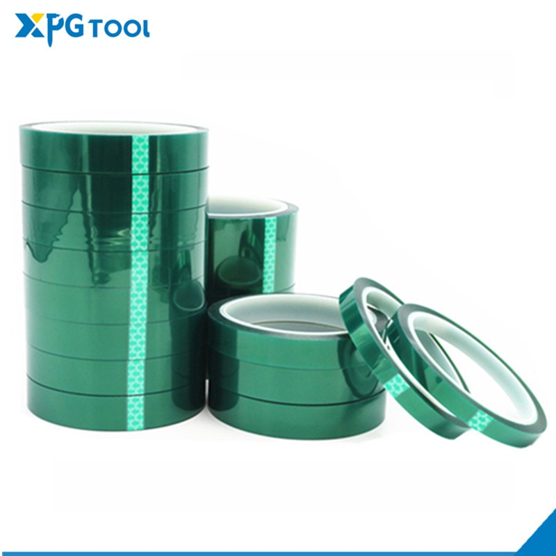1pcs 33m heat resistant polyimide tape high temperature adhesive insulation tape for bga electronic repair pcb smt Green PET Tape Heat-resistant PET High Temperature Masking Shielding Tape for PCB Solder Plating Insulation Protection 33M