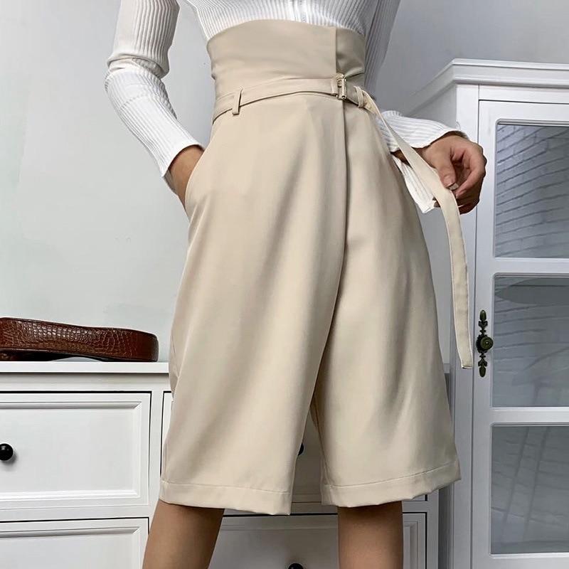 Lofia Wide Leg Pants Women High Waist Belt Pants Korean Style Fashion Wild Summer Women's Pants Knee Length Ropa Mujer Clothes
