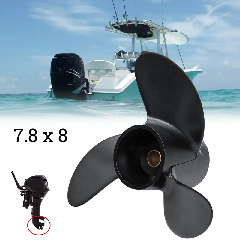 1pc 7.8 X 8'' Marine Outboard Propeller For Mercury 2-Stroke 5HP Tohatsu 4-6HP Hangkai 2-Stroke 6HP Aluminum Alloy Black Propel water pump impeller replacement for yamaha 4hp 5hp 6hp f4 2 stroke 4 stroke