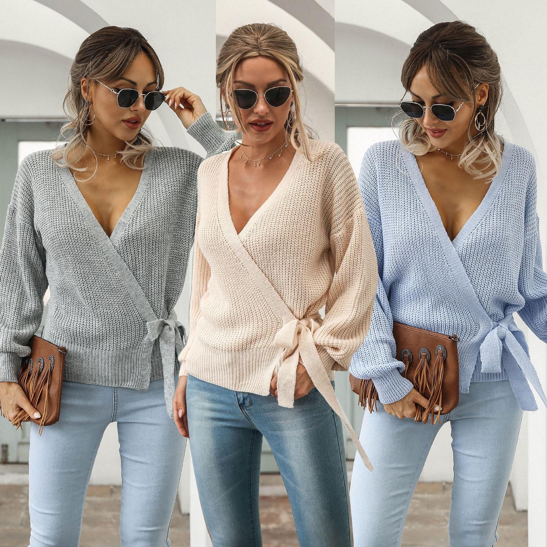 Женский зимний свитер, свитер, джемпер с V-образным вырезом, короткий свитер на бретельках, свободный перекрестный пуловер, вязаный Топ, элег...