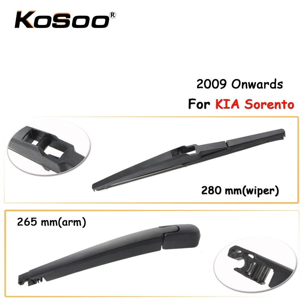 Kosoo auto trasero del coche limpiaparabrisas cuchilla para KIA Sorento 280 mm a partir de 2009 la ventana trasera limpiaparabrisas brazo estilo de coche