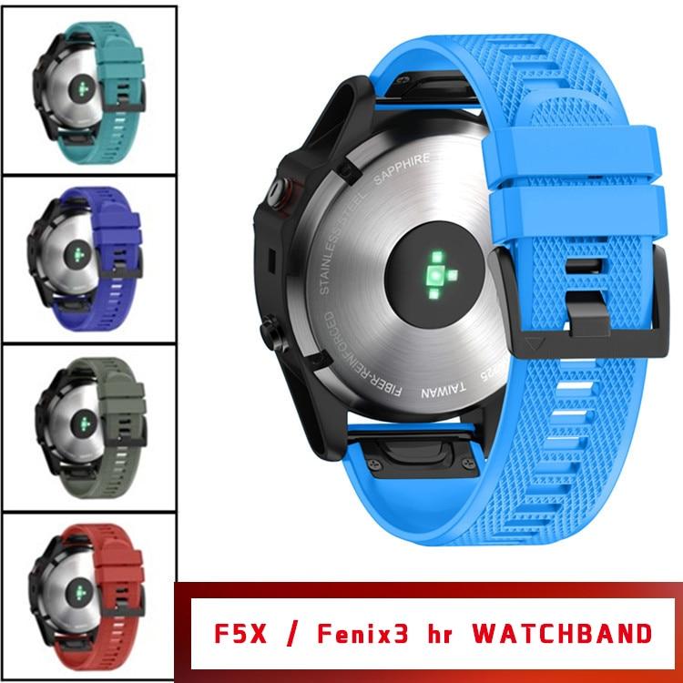 26mm  Watchbands for Garmin Fenix 5X/3/3HR Sport Silicone Band with Easy Fit Silicone Band  Fenix Watchbands
