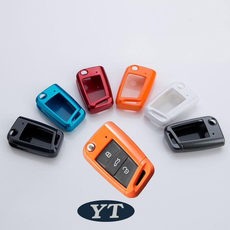 Funda para llave de coche, carcasa para llave de coche para Volkswagen Tiguan llave plegable, accesorios de automóvil, estilo de coche