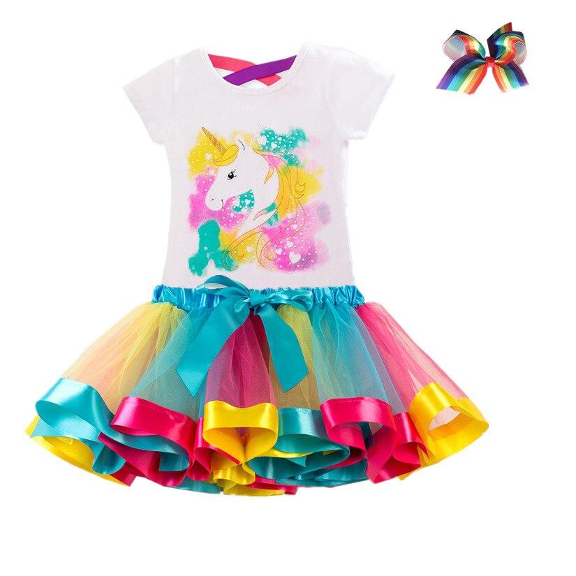 Комплекты детской одежды с единорогом, одежда для маленьких девочек, летнее платье-пачка принцессы для вечеринки, костюм единорога, Детские...