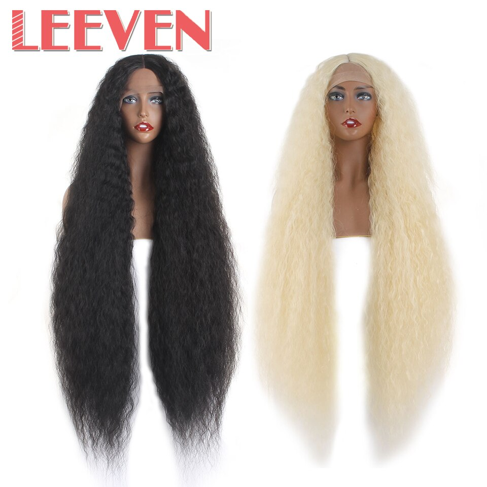 Peluca frontal de encaje sintético Afro rizado Afro Peluca de pelo largo mullido para mujer negro Rubio parte media