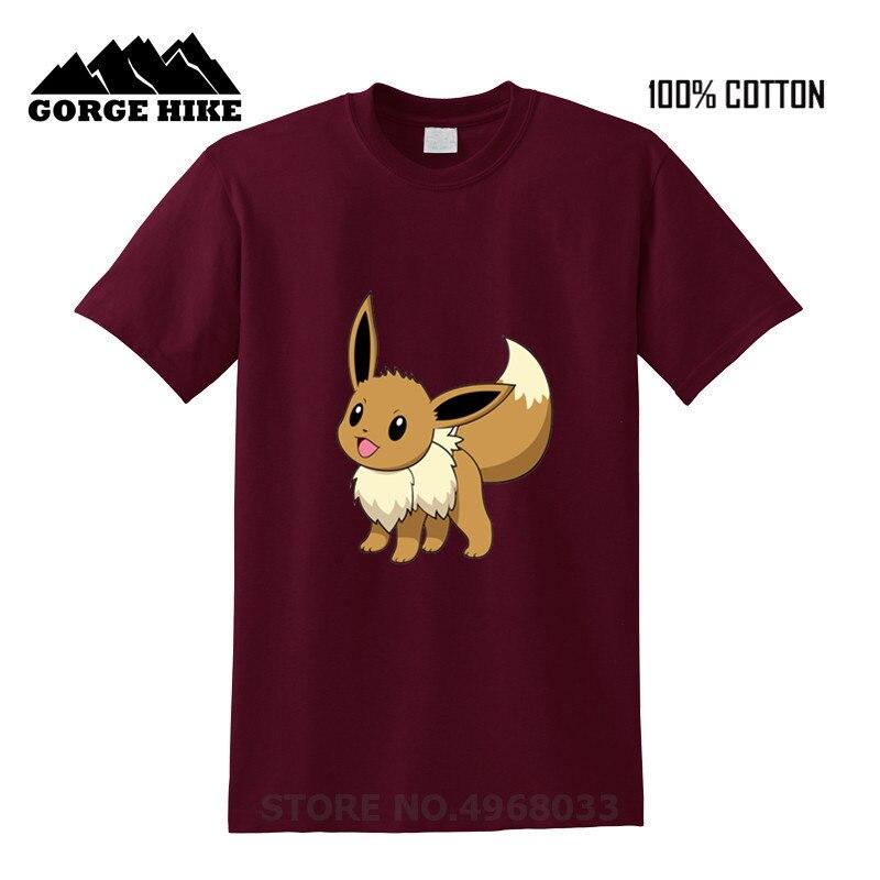 Anime japonés lindo Eevee Fox evolution Eievui paraguas impresión divertida camiseta Hombre 2019 tendencia gran venta hombres Cool camiseta top Tees