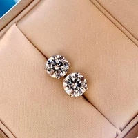 100 925 sterling silver six claws engagement earrings charms high carbon diammond stud earrings for women wedding fine jewelry