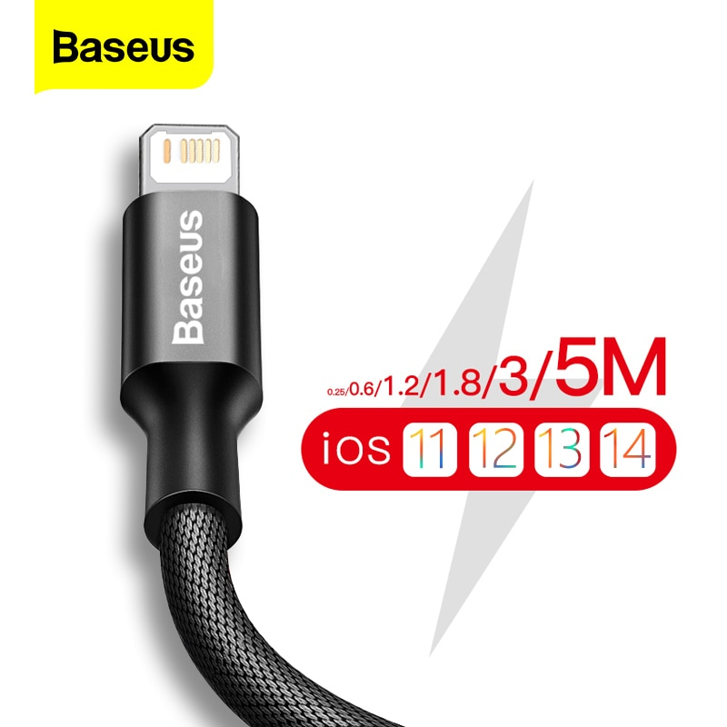 Baseus USB Cable For iPhone 12 11 Pro Max X XR XS 8 7 6 6s 5s iPad Fast Data Charging Charger USB Wi