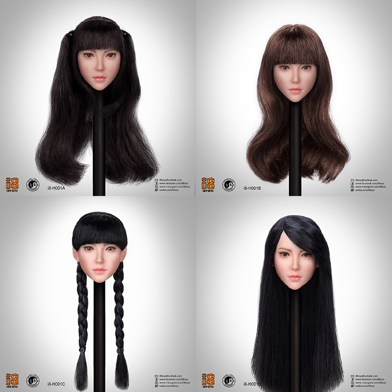 I8TOYS I8-H001 1/6 cabeza de soldado femenina tallada en Asia belleza exquisita Linda escultura de cabeza femenina de trasplante de pelo para mujer de 12 pulgadas