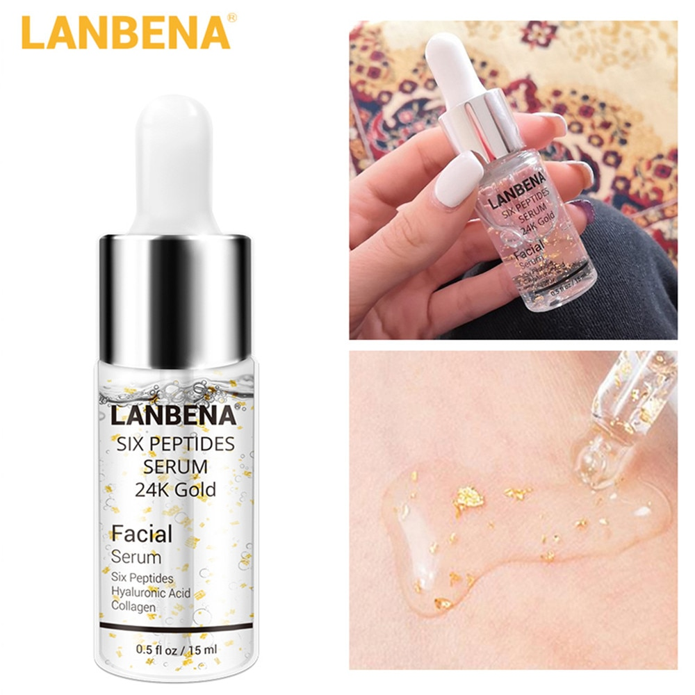 LANBENA Anti-Aging Anti-Wrinkle Face Serum 24K Gold Six Peptides Lift Firming Whitening Moisturizing Acne Treatment Facial Serum недорого
