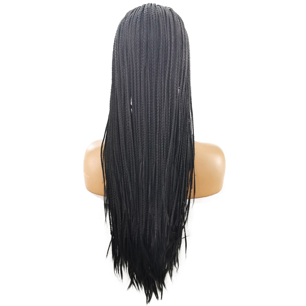 FANXITON Black Color Hair Braided Box Braids Wigs High Temperature Fiber Hair Synthetic Lace Front Wig For Women Lace Wigs enlarge