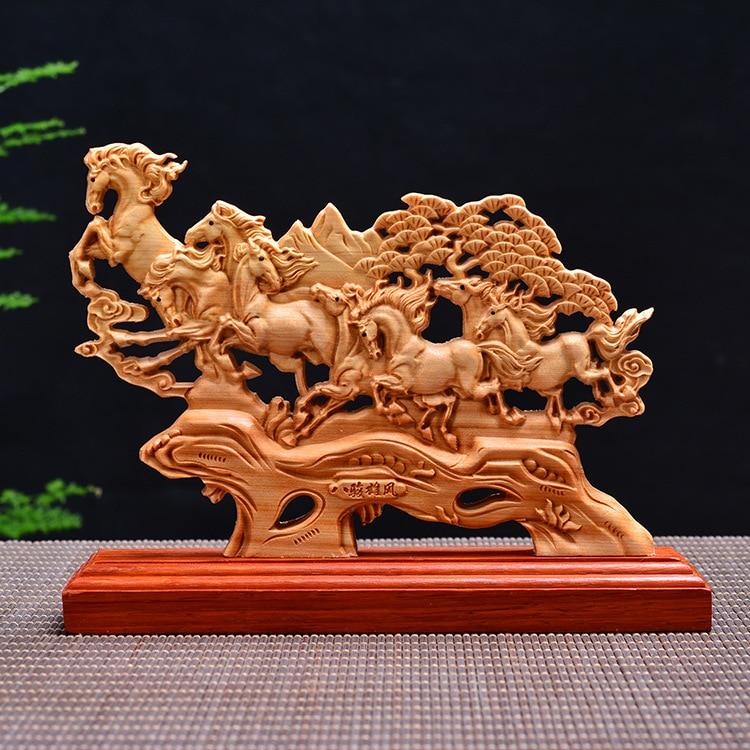 23CM, estatua de ocho caballos, figuras de animales de madera, decoración del hogar, colección de madera, regalos, accesorios para barcos, decoraciones