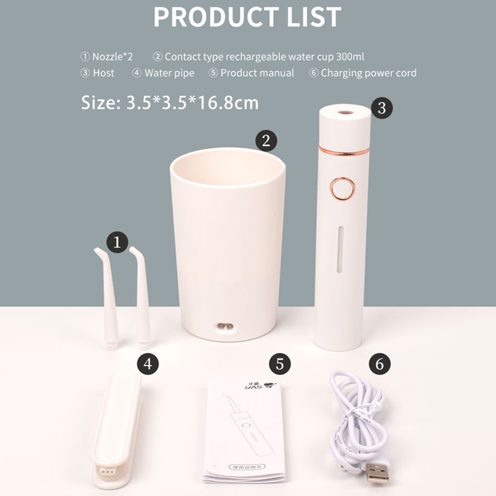 Electric Water Flosser Oral Irrigator Portable Without Water Tank IPX7 Waterproof Rechargeable Dental Flusher Teeth Whitening enlarge