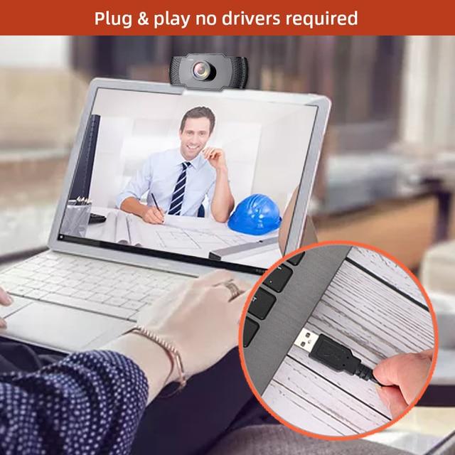 DERE X22 FHD Webcam 1080P Mini USB Web Cam Mini Camera Video Conference Microphone Focus for Rotatable Desktop Computer Laptop 8
