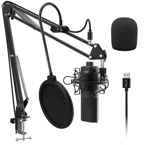 Fifine USB Condenser Microphone with Adjustable Microphone Arm Shock Mount for Studio Recording Vocals Voice, YouTube