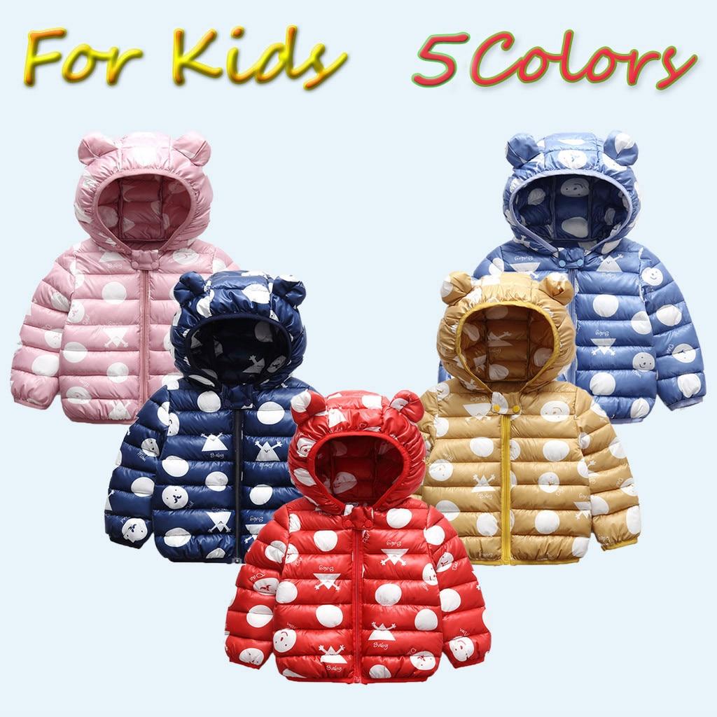 1-3Y Cartoon Zipper Hoodie Winter Down Parkas for Baby Girls Boys Windproof Hooded Zipper Coat Warm Coats Baby Snow Wear
