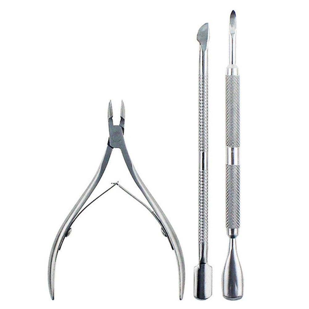 3 uds herramienta cortaúñas, cortador para piel muerta, Juego de alicates para cutículas, tijera de acero inoxidable para el cuidado de las uñas, profesional