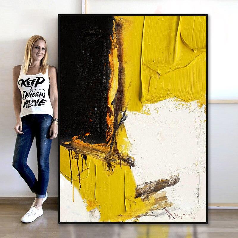 Pintura Decorativa naranja moderna abstracta, Fondo para sofá o entrada de pasillo, pintura pintada a mano en blanco y negro puro, cuadro pintado al óleo