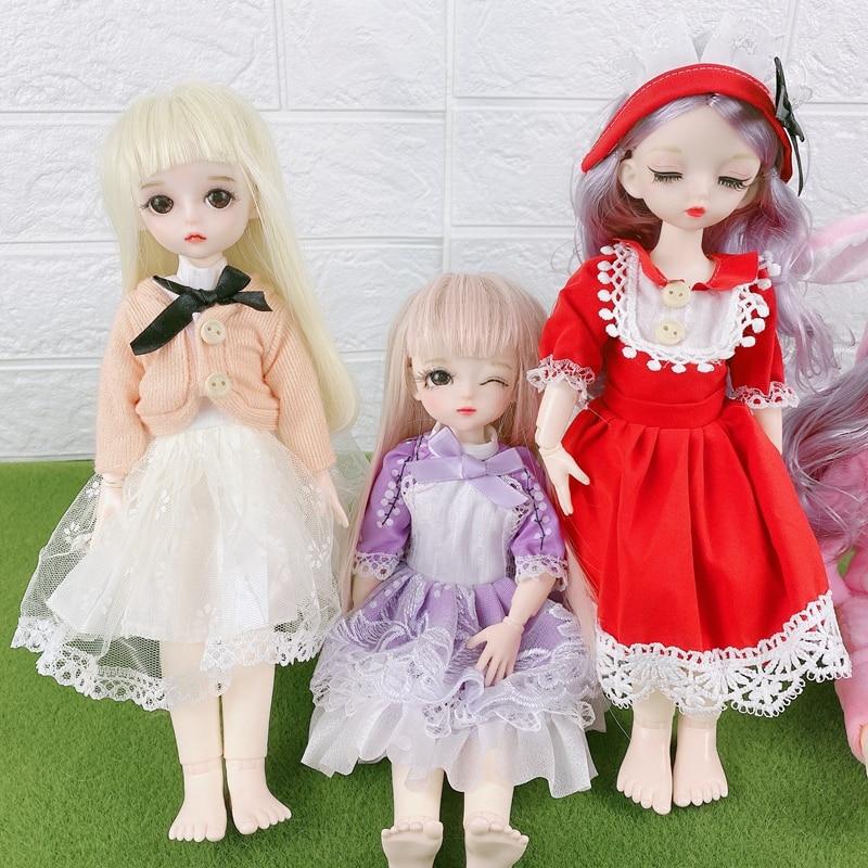 1/6 conjunto de ropa de muñeca Kawaii princesa falda de las niñas mono muñeca BJD SD accesorios de bricolaje juguete para niña linda ropa para muñecas