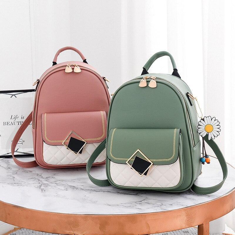 Новинка 2021, однотонный маленький рюкзак, рюкзак для женщин и девушек, милый повседневный рюкзак из искусственной кожи, женский рюкзак