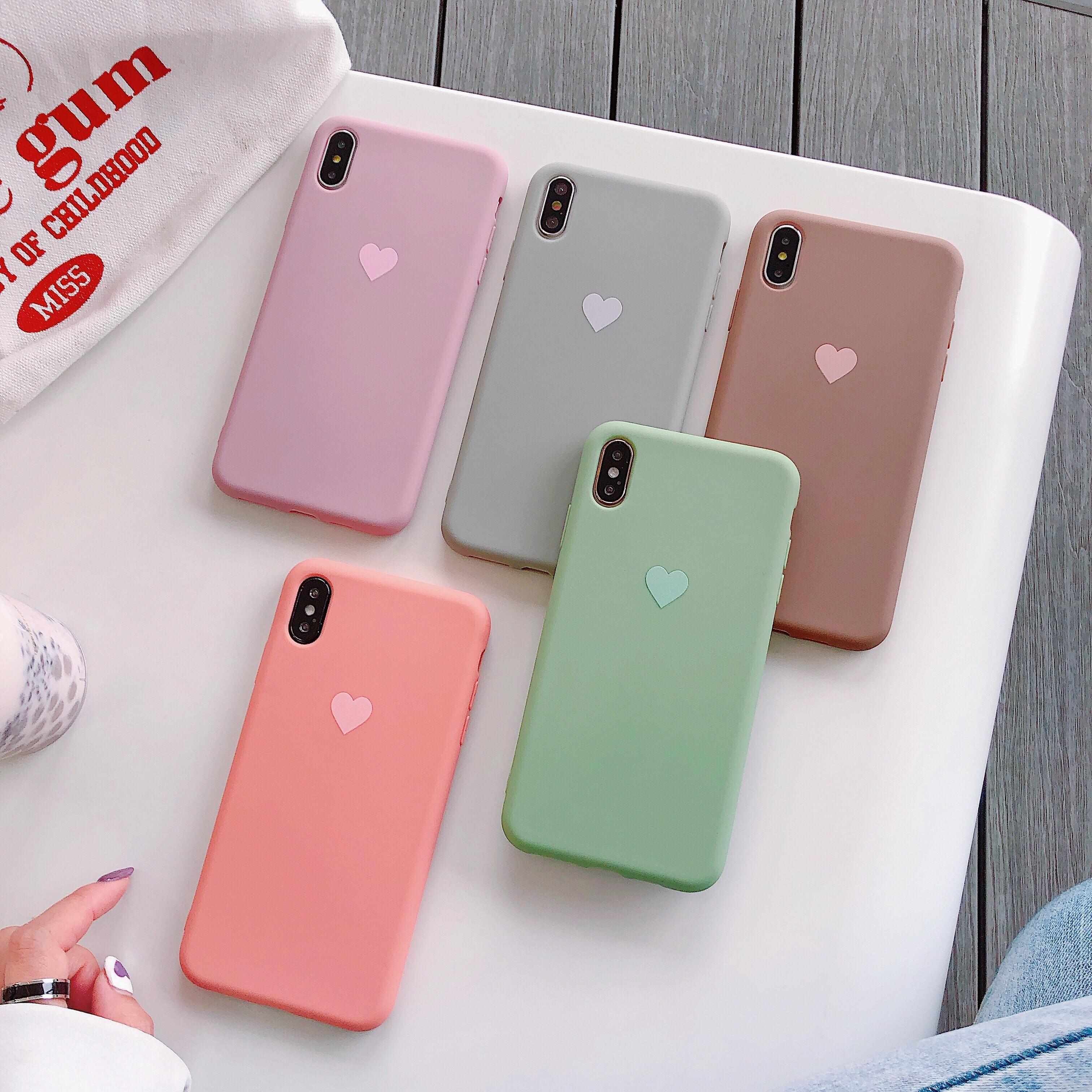 Funda de silicona Color sólido lindo liso caramelo para iPhone 6 6S 7 7P 8 8P X XS XSmax suave TPU Funda amor