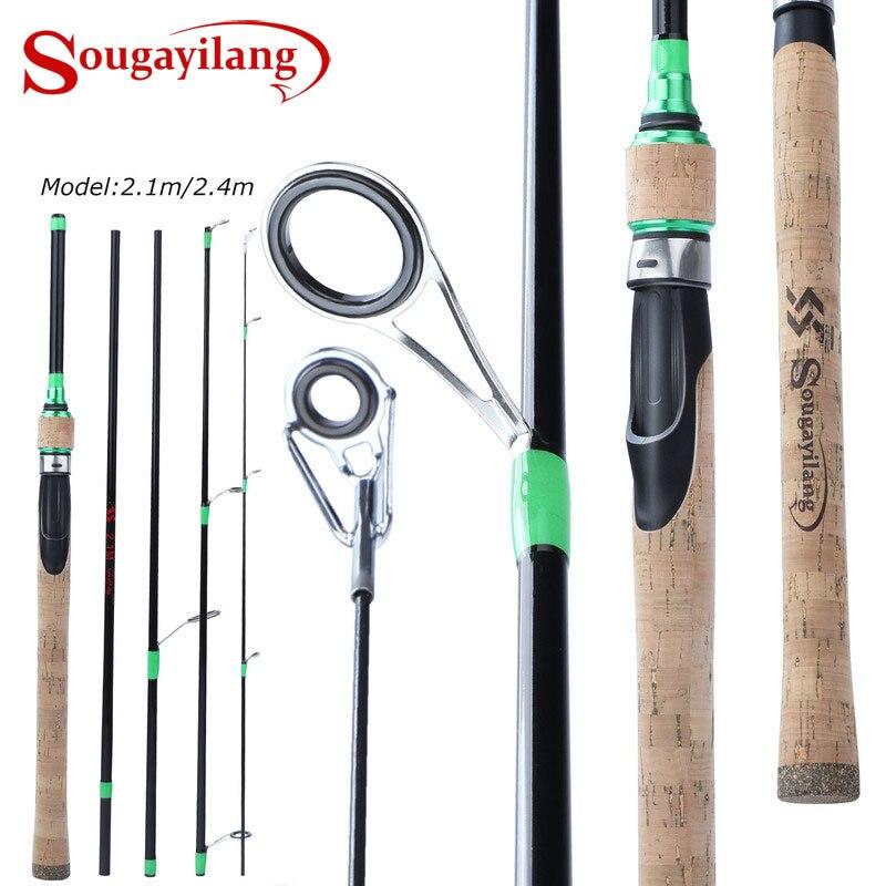 Sougayilang 2,1 m 2,4 m 5 Sección Spinning/Baitcasting caña de Pesca de viaje Ultra ligera fundición Spinning señuelo 7g-28g M caña Pesca