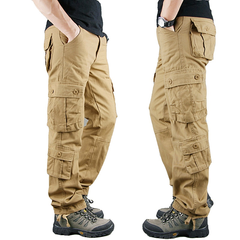 Брюки-карго мужские в стиле милитари, хлопок, тактические штаны, повседневные армейские брюки, большие размеры, цвета хаки, весна 2021