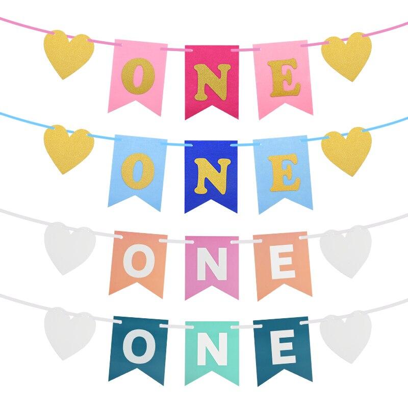 1 Set Banner de corazón y letras de cola de pescado de banderín de barba 1st decoración de fiesta de cumpleaños silla alta niña niño Primer cumpleaños decoración