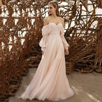 eightree champagne pink summer cheap wedding dress puffy sleeve lace boho bridal gowns for beach weddings tulle robe de mariee