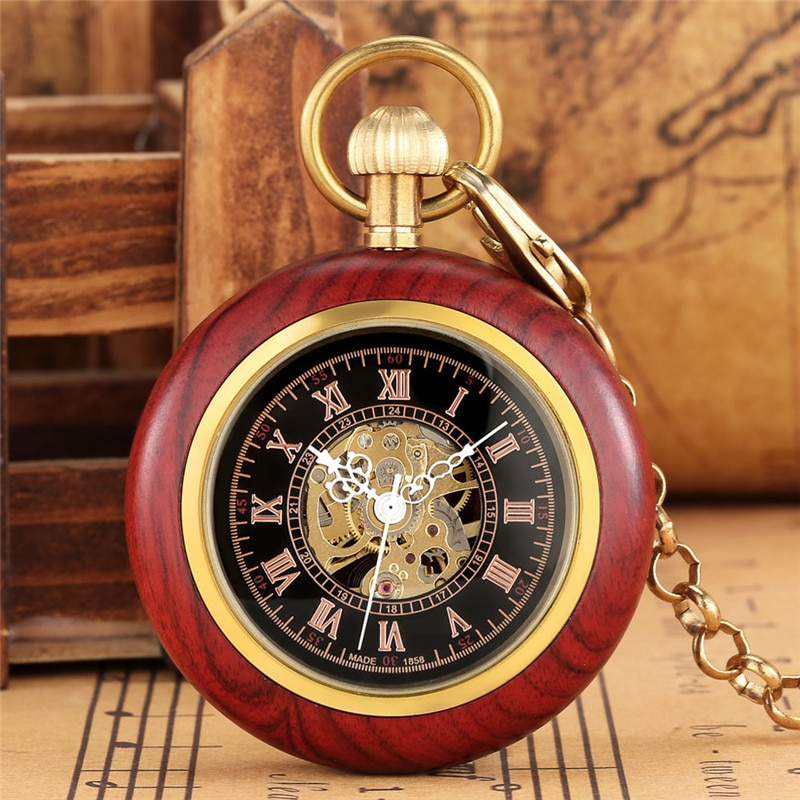 Steampunk Nature Red Sandalwood Watches Unisex Skeleton Automatic Mechanical Watches Roman Numeral Pendant FOB Clock Chain Gift
