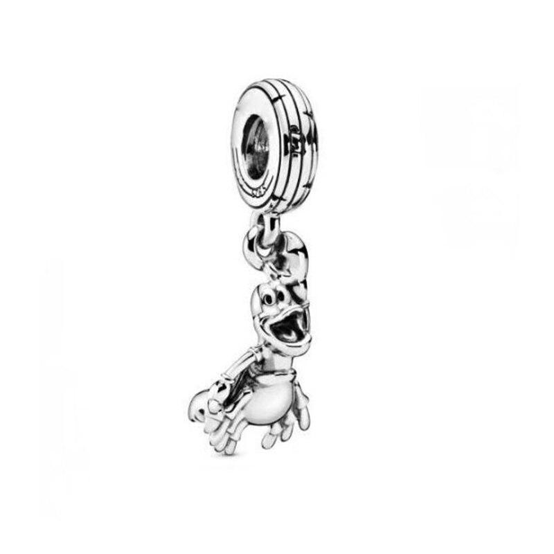 Original 925 prata esterlina grânulo pequena sereia sebastian balançar charme caber pandora pulseira feminino jóias diy